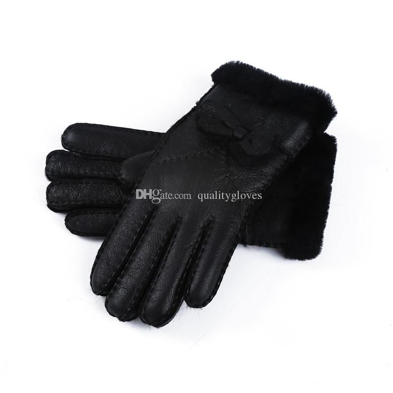2018 New Ladies Bowknot High Quality Leather Gloves Wool Gloves Free Shipping Quality Assurance