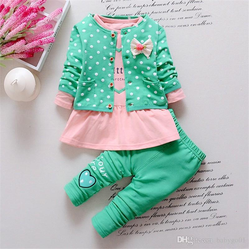 f76294db840c 2019 Baby Girl Clothing Sets Kids Coat+ T Shirt + Pants Children ...