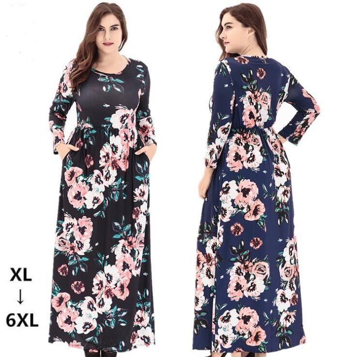 08ca7ba68e3 Women Bohemian Maxi Long Plus Size Casual Dress Kaftan Islamic Abaya Muslim  Robe Floral Printing Shirt Long Sleeve Dress Summer Lace Dress Black Women  ...