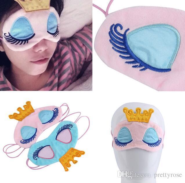 Acquista lovely pink blue crown maschera dormire corona eyeshade
