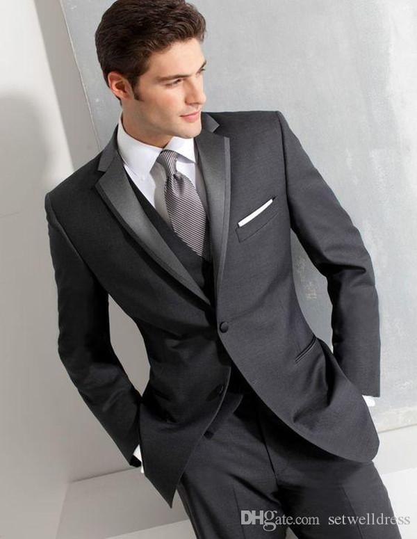 2018 Cheap Dark Grey Men Suits For Wedding Custom Made Slim Fit Groomsmen Tuxedos Three Pieces Prom Party Business Suit Jacket+Pants+Vest