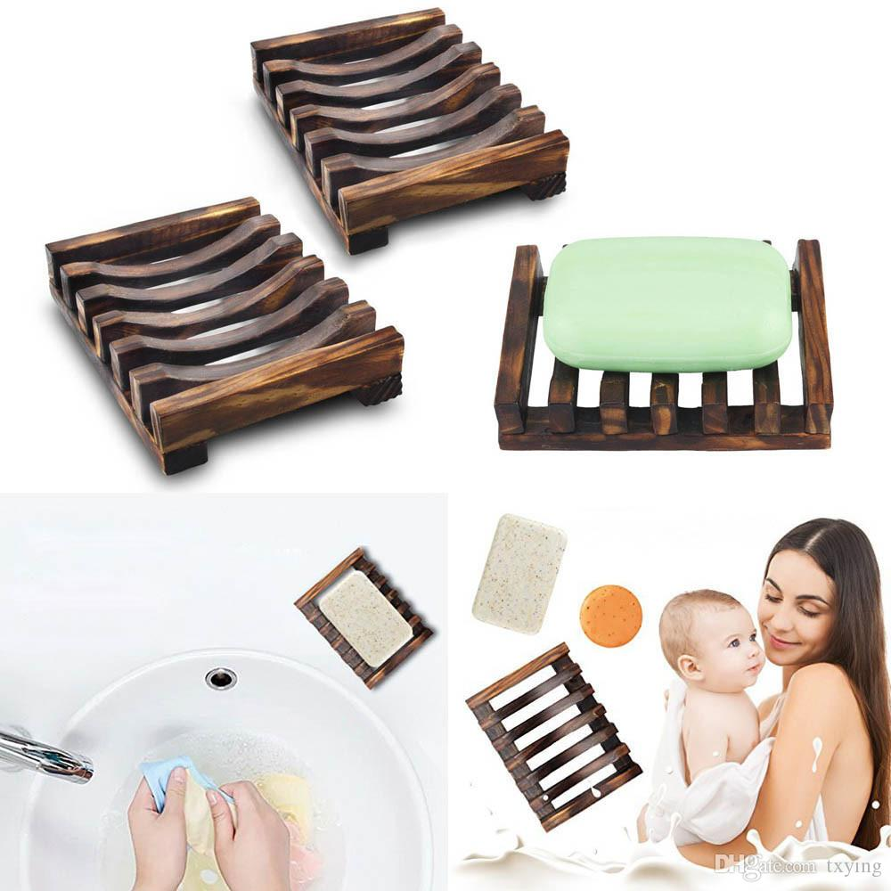 Natural Wood Soap Dish Bathroom Wooden Soap Case Holder Sink Deck Bathtub Shower Dish Soap Box Portable Dishes
