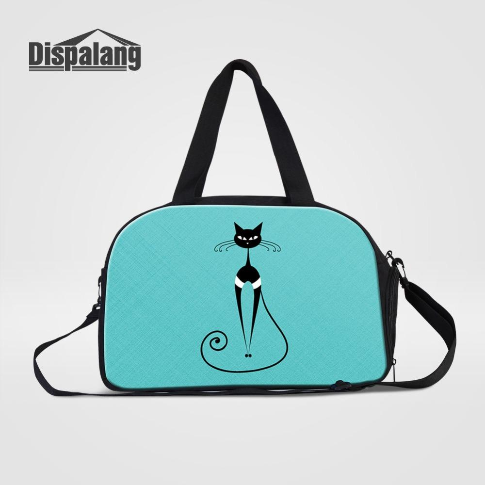 8c7269bc4d Art Cat Printing Travel Bags For Women High Quality Canvas Messenger Duffle  Bag Animal Crossbody Weekend Handbag Overnight Bags Travel Bags Cheap Travel  ...