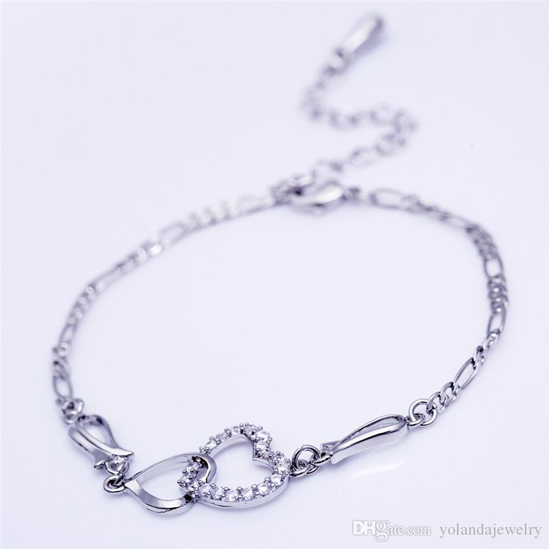 Charming Women Bracelets 18K White Rose Gold Plated AAA CZ Double Bracelets for Girls Women for Party Wedding Nice Gift