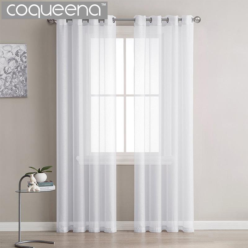 2018 modern plain white sheer curtains kitchen voile tulle curtains for living room bedroom door window custom ready made 1 panel from isaaco - White Sheer Curtains
