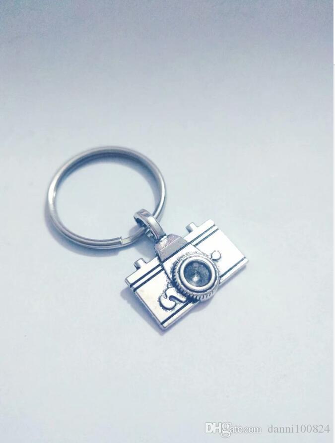 20 unids / lote joyería de moda tibetana de plata cámaras del fotógrafo encanto colgante llavero anillo decoraciones del bolso del coche llavero A19