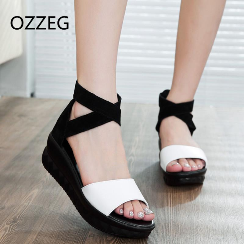 Summer Women Shoes Platform Sandals Shoes Women Open Toe Real Leather Sandals  Flat Female Sandalias Mujer Sandalias Wedges Wedge Sneakers Sandal From ...