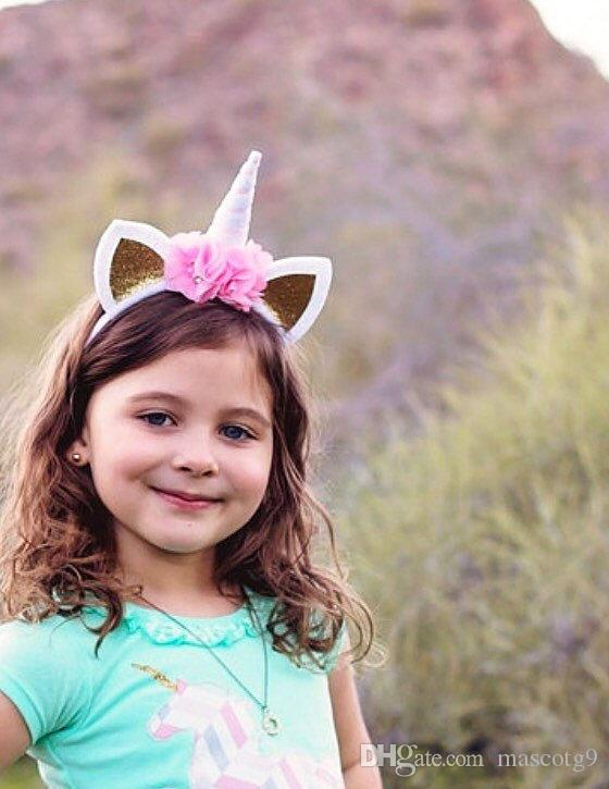 Baby Unicorn Party Niños Fiesta de cumpleaños Flor Broche de pelo Cosplay Corona Bebé Lindo encantador Diadema Orejas de gato