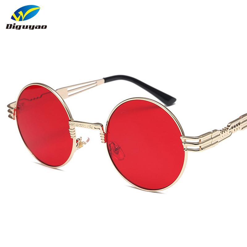 6ada3b38d2 Acheter DIGUYAO Vintage 10 Couleurs Évider Jambes Femmes Steampunk Lunettes  De Soleil Rétro Hommes Lunettes De Soleil Rondes Cadre En Métal Miroir  Oculos De ...