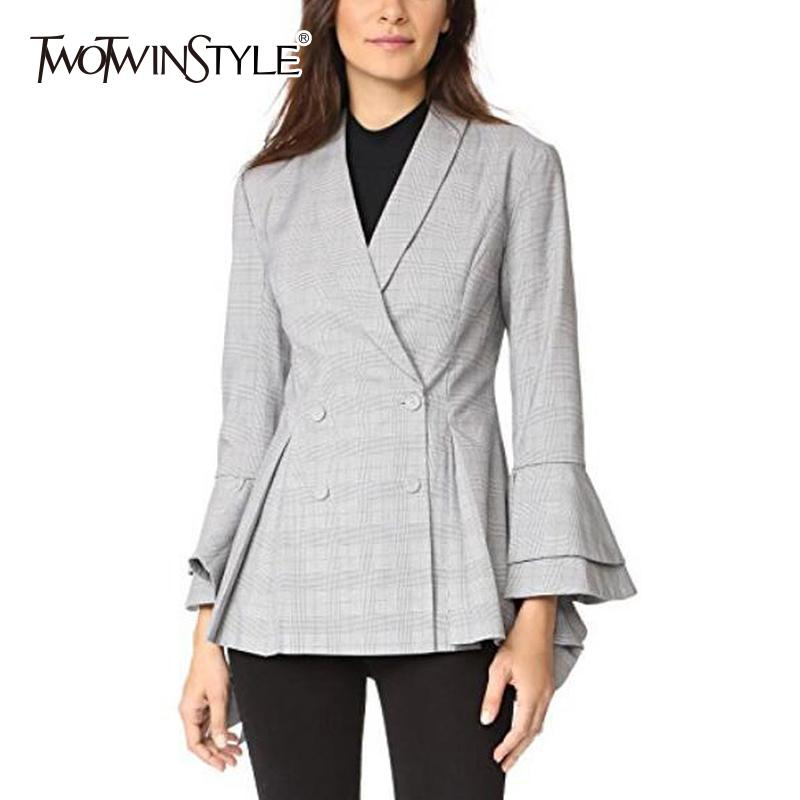 248e5c2c1d942 TWOTWINSTYLE OL Coat Female Plaid Flare Sleeve Ruffles Double Breasted  Tunic High Waist Women's Blazer 2018 Spring Fashion Tops