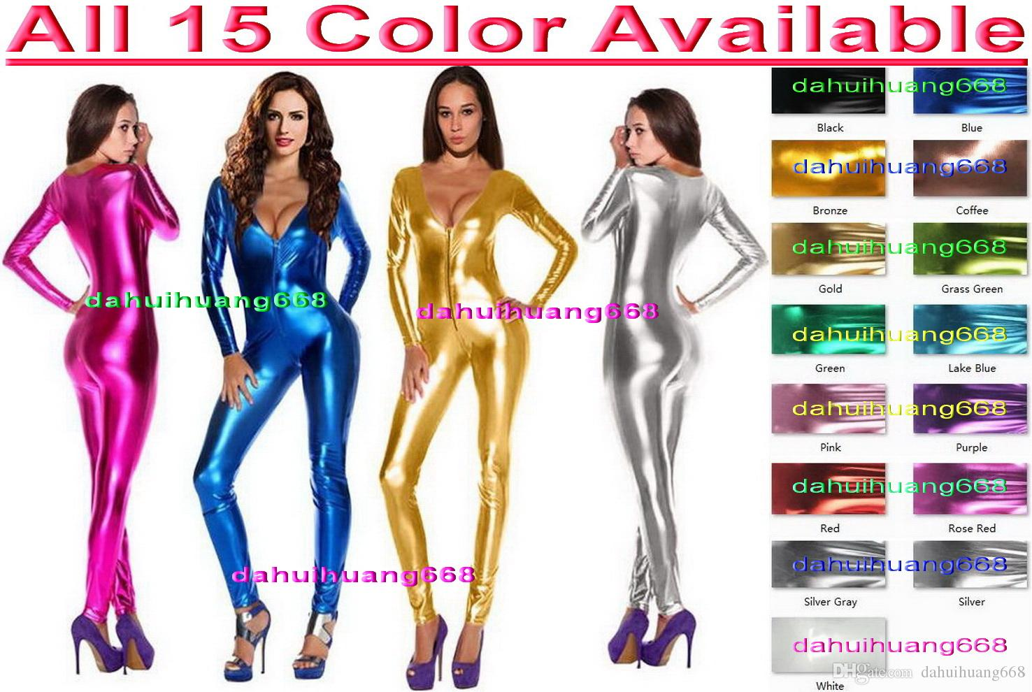 Sexy 15 Color Shiny Lycra Metallic Suit Catsuit Costumes Sexy Women V-Collar Body Suit Costumes Halloween Party Cosplay Costumes DH009