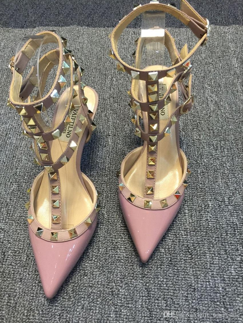 2018 Nouvelles femmes hauts talons robe chaussures partie rivets de mode filles sexy bout pointu chaussures boucle plate-forme pompes chaussures de mariage noir blanc rose