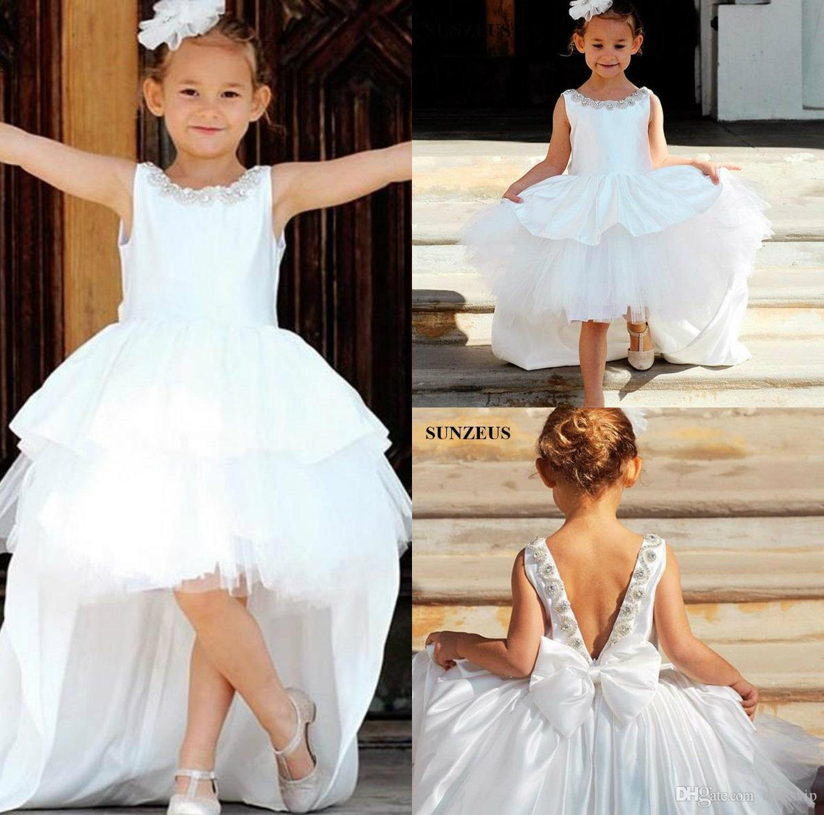 White Flower Girls Dresses For Weddings Jewel Neck High Low Tiered Tulle Beads Tutu Infant Birthday Party Dresses Custom Made Girls Pageant