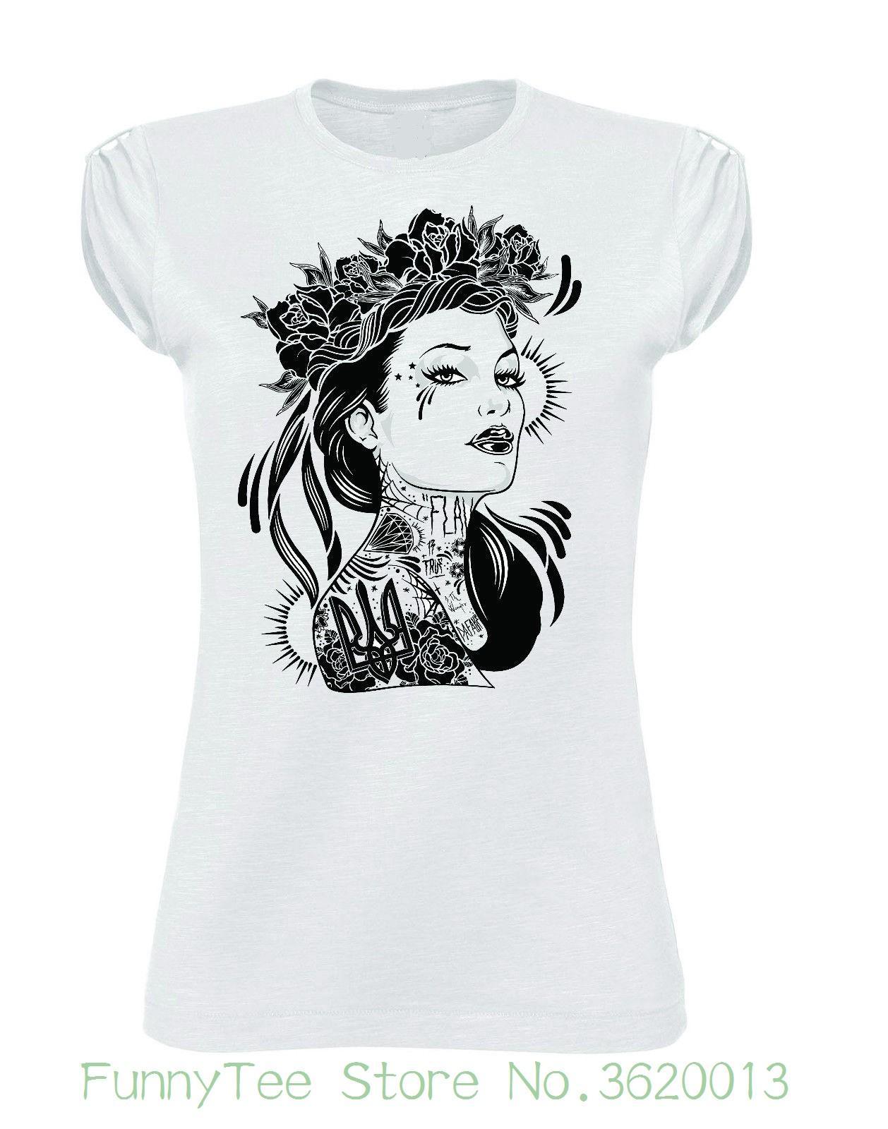 new styles 234b5 99e66 Women s Tee Tshirt Donna Girl Tattoo Rose Moda Fashion No Happiness 8th  Wonder Printed Funny T shirt Hip Hop Cotton