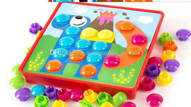 Wholesale-new Creative Mosaic Toy Gifts Children Nail Composite Picture ceative Mosaic Mushroom Nail Kit Puzzle Toys button art