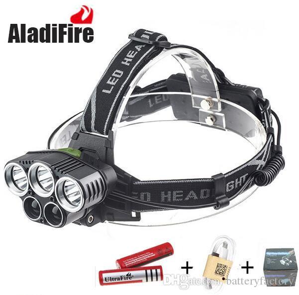 Super 25000LM 5 X XML T6 LED Recarregável USB Farol Headlight Head Light Torch + 2x18650 bateria + Carregador USB
