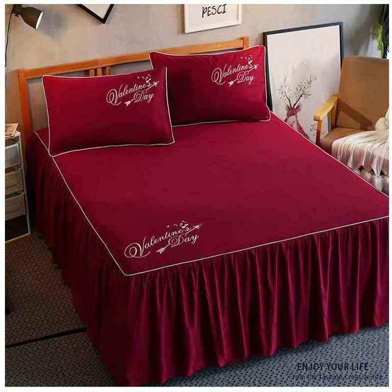 1/Ruffles Mattress Cover Romantic Princess Bed Skirt Bed Sheet Solid Color  Bedspreads Flat Sheet Twin Queen King Size 18 Drop Bedskirt Queen Wrap  Around ...