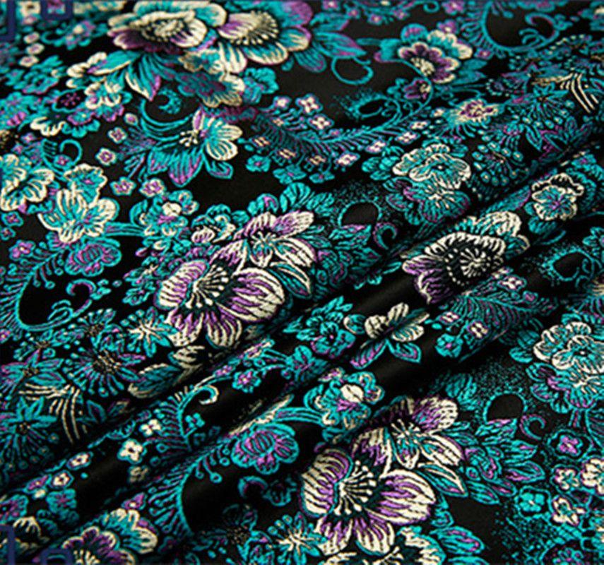 2019 Black Flower Metallic Jacquard Brocade Fabric,3D ...