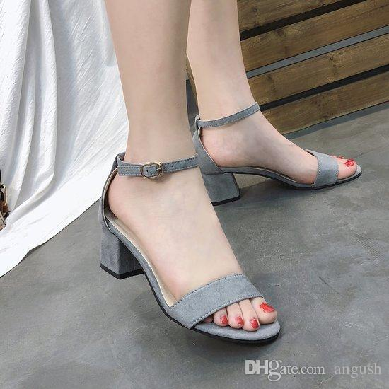 b4ef5e092b2a New Summer Women Shoes All Match High Heels Sandals Sexy Temperament Thick  Heel Open Toe Sandals Female Fashion Rome Heels Shoes Black Grey Mens  Sandals ...