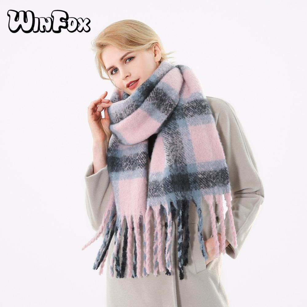 Compre Winfox 2018 Nueva Marca De Invierno Rosa Gris Cálido Tartan Plaid  Cashmere Manta Bufandas Mantón Foulard Bufanda Para Mujeres Damas S18101904  A ... 97c8ac8e617