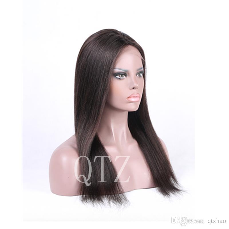 En iyi Ipek Taban Dantel Ön Peruk Bebek Saç Ile Moğol saç Tam Dantel İnsan Saç Peruk Siyah Kadınlar Için Tutkalsız Tam Dantel Peruk
