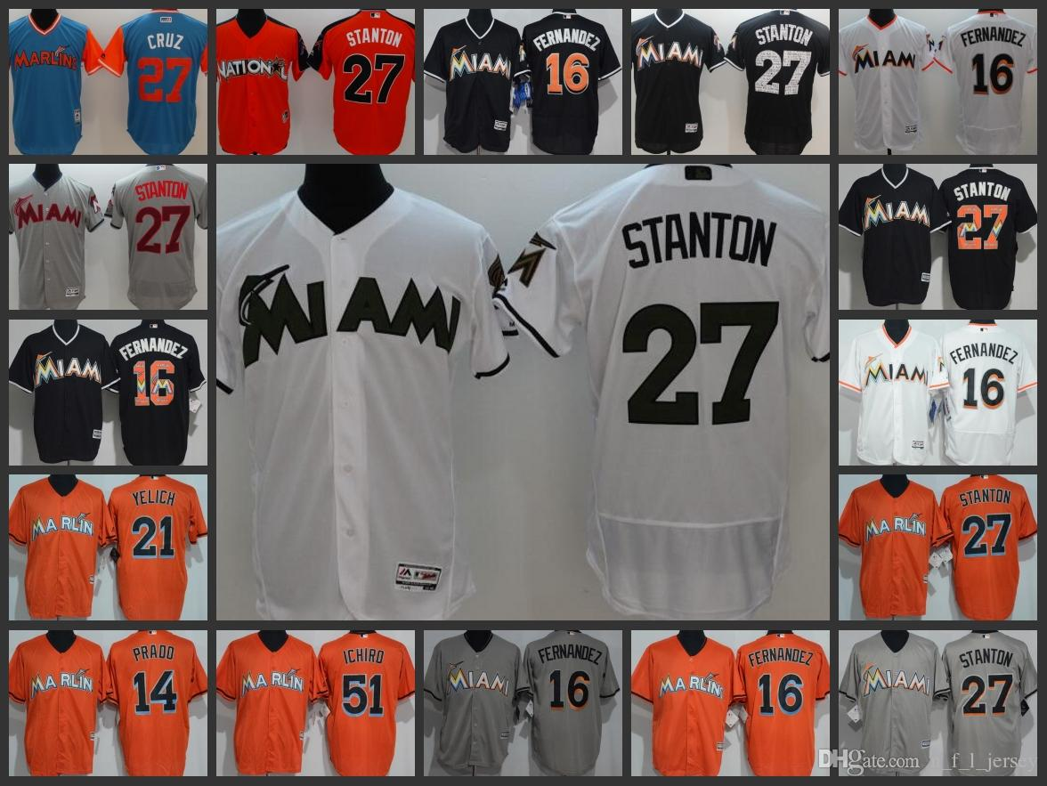 new product 6cec7 71868 Miami Marlins Mnas Jersey #27 Giancarlo Stanton 16 Jose Fernandez 21  Christian Yelich Woman Youth Baseball Jerseys