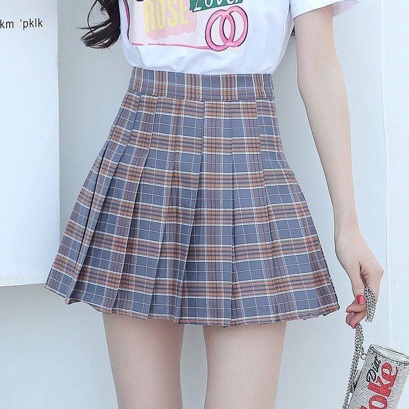 d449e9926375d9 Mode Jupe D été Femmes 2018 Ete Jupes Casaul Plissée Dames Jupes Taille  Haute Mini Jupe Femme Jupe À Carreaux Saia Jupe Femme