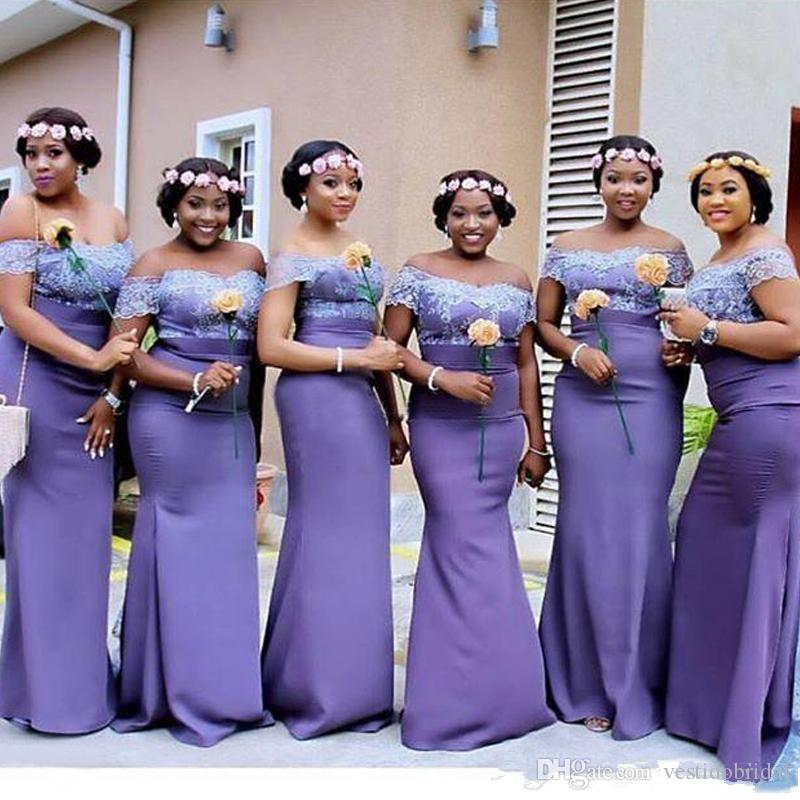 2018 Deep Purple Mermaid Bridesmaid Dress Cheap V Neck Cap Sleeve ...