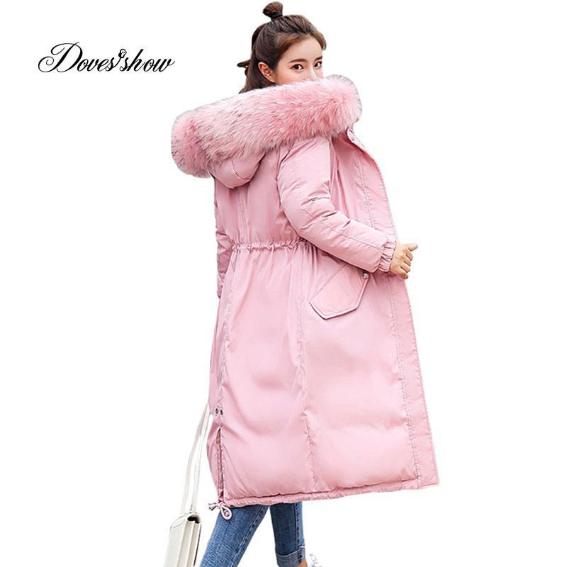 1bb9f47b577d0 Elastic Hooded Fur Collar Winter Down Coat Jacket Long Warm Women ...
