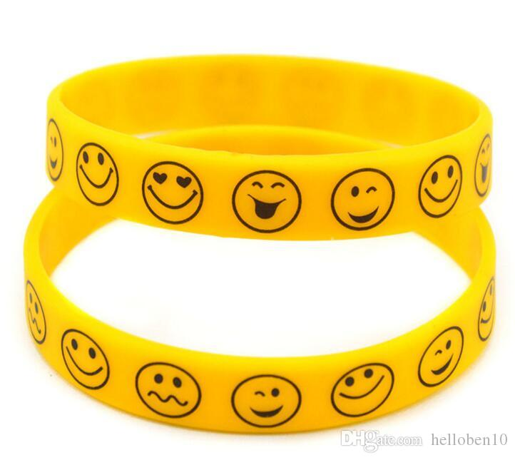 Smiling face pattern Silicone Bracelet Hip Hop Mens Womens Unisex yellow  Wristband 09ec0d84f