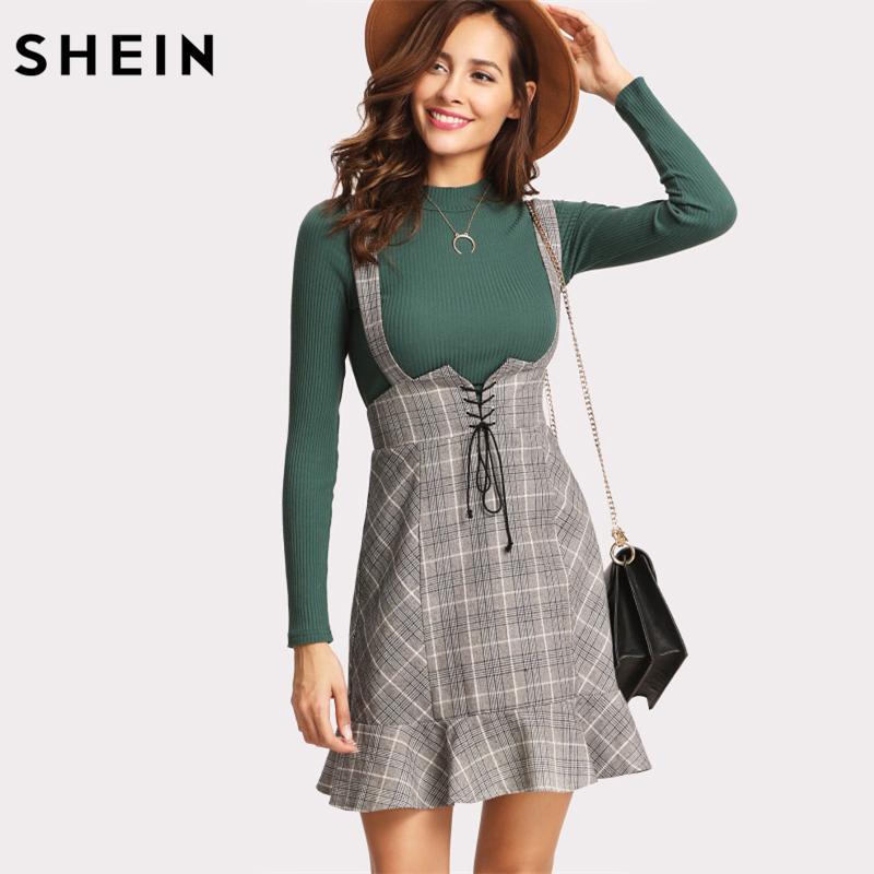 ca4e83123 SHEIN faldas mujer cintura alta mujer falda otoño invierno encaje arriba  volante volante dobladillo falda a cuadros gris cremallera espalda vaina ...
