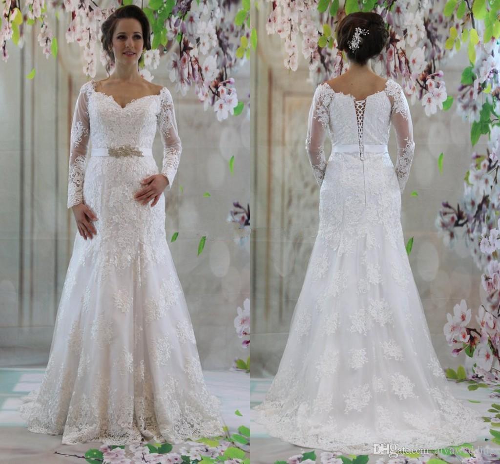 Off Shoulder Long Sleeves Wedding Dresses 2019 Elegant Mermaid Wedding  Dresses Lace Satin Mature Bridal Dresses Plus Size Free Shipping