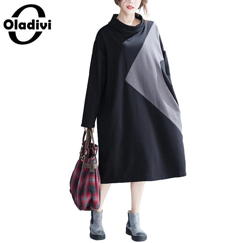 Oladivi Brand Big Plus Size Women Color Block Turtleneck Dress ...