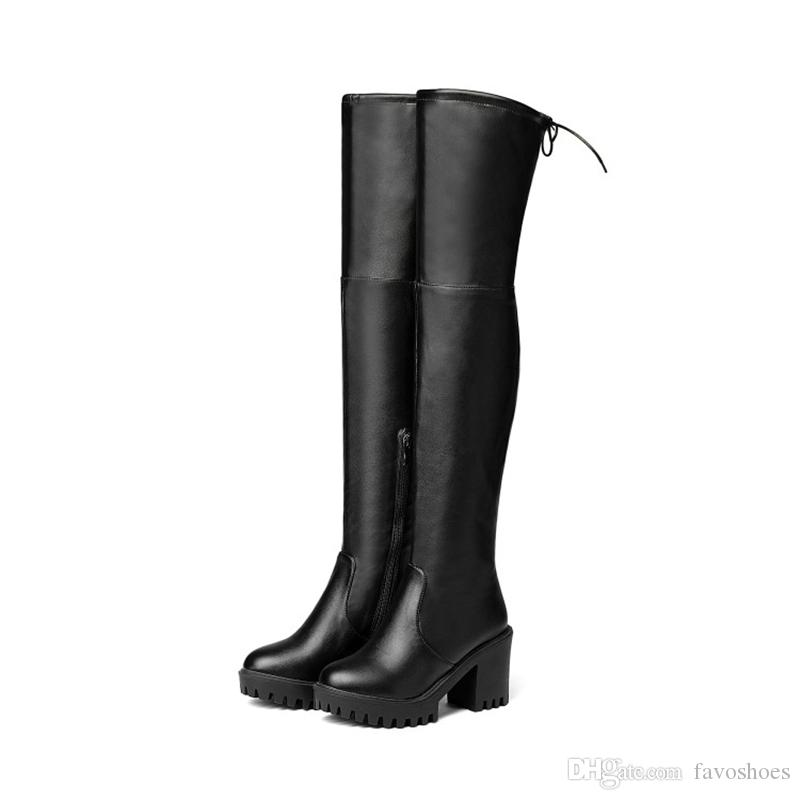 73df3f3145d8 Fashion Women Shoes Synthetic Leather Block Heel Zip Round Toe Over Knee  High Boots FF B605 US UK EUR Size Customized Favofans Combat Boots For Women  Sexy ...