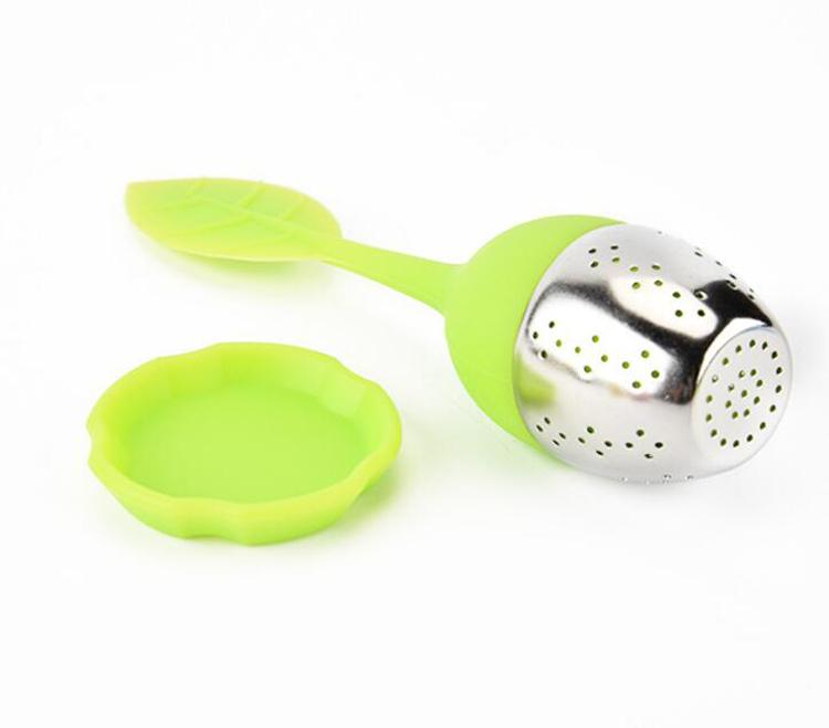 Tea Infuser Leaf Strainer Handle with Stainless Steel Ball Silicone Leaf Lid 5 Colour Select (Green Red Blue Orange Yellow)
