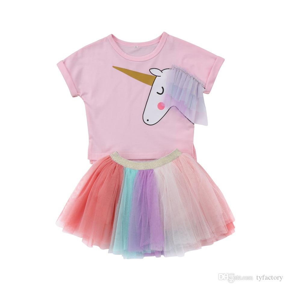 4e98cd80a89 2019 Cute Summer Kid Girls Unicorn Pink T Shirt Tutu Rainbow Skirt Dresses  Outfits Fashion Baby Clothes Kid Girl Princess Dress Clothing From  Tyfactory