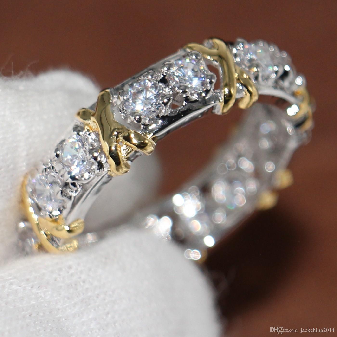 Eternidad al por mayor profesional Diamonique CZ Diamante simulado 10KT WhiteYellow Gold Filled Wedding Band anillo cruzado talla 5-11