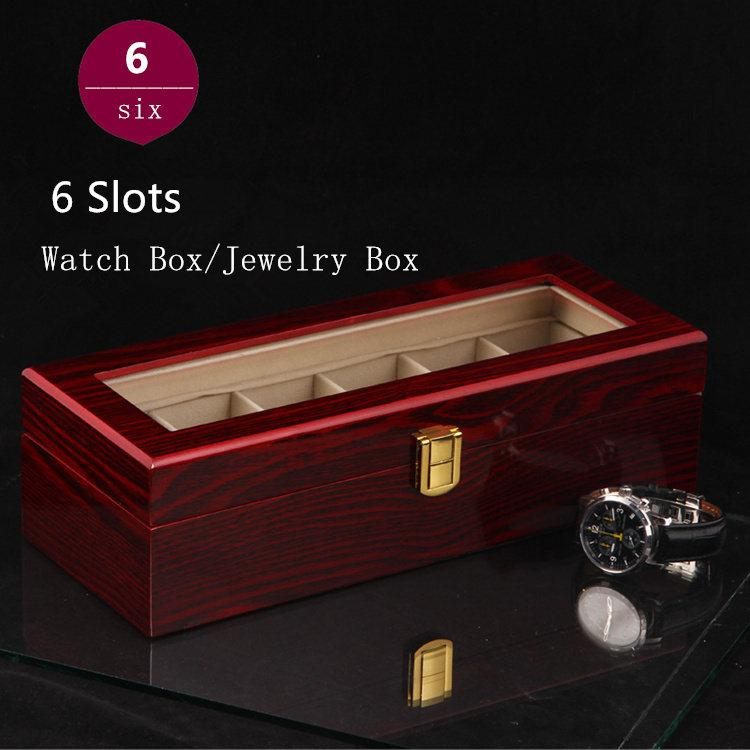 Special Price 6 Grids Watch Storage Box Top Quanlity Organizer Light Red  Mdf Watch Box Jewelry Display Gift Case D026 Watch Storage Boxes Watch  Storage ...