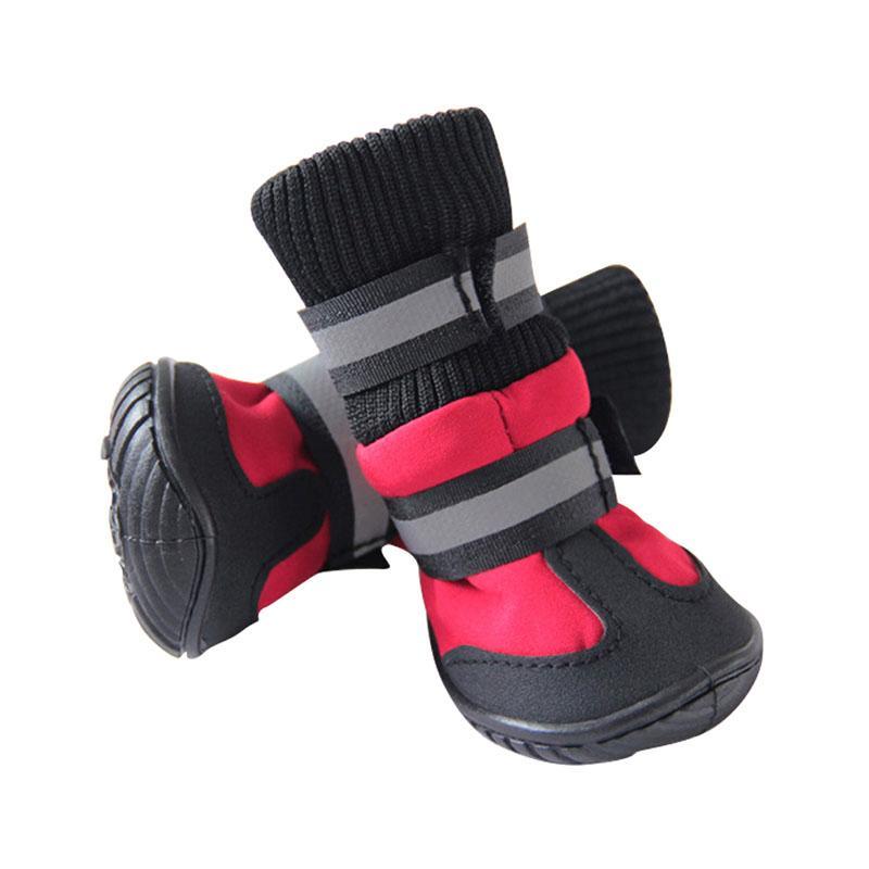 Vendita calda scarpe cani a vita alta stivali portatili in cotone stivali impermeabili antiscivolo suola in gomma scarpe cani cani di grossa taglia 4 pz / set
