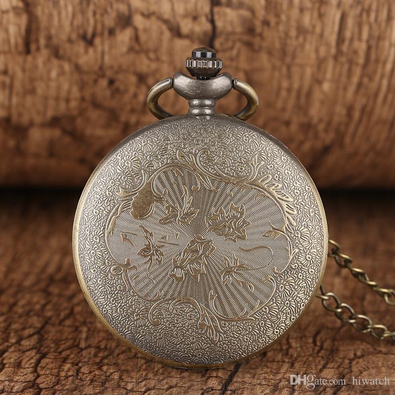 Narin Çapa Desen Romen Rakamları Tasarım Dial Kuvars Pocket saat Antik Kolye Zincir Casual Erkekler Erkekler Için Saatler Roman Hediye