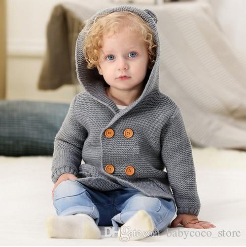 New Winter Sweaters Baby Girls Cardigans Autumn Hooded Newborn Boys Knitted Jackets Cartoon Bear Childrens Long Sleeve Clothing Mother & Kids Outerwear & Coats