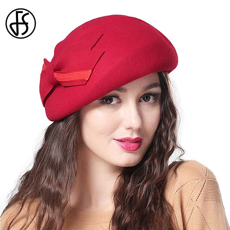 dd521f8ce1bc2 2019 FS Elegant Vintage 100% Wool Felt Berets For Women Winter Fascinators  Hat Solid Hat Trendy Stewardess Cap 2017 From Fotiaoqia