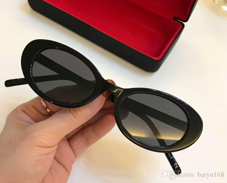 11461c79bf37 Fashion Blogger Oval Sunglasses Black Frame Grey Shaded Lenes Ladies Designer  Sunglasses Luxury Sun Glasses Eyewear New With Box Sports Sunglasses Cheap  ...