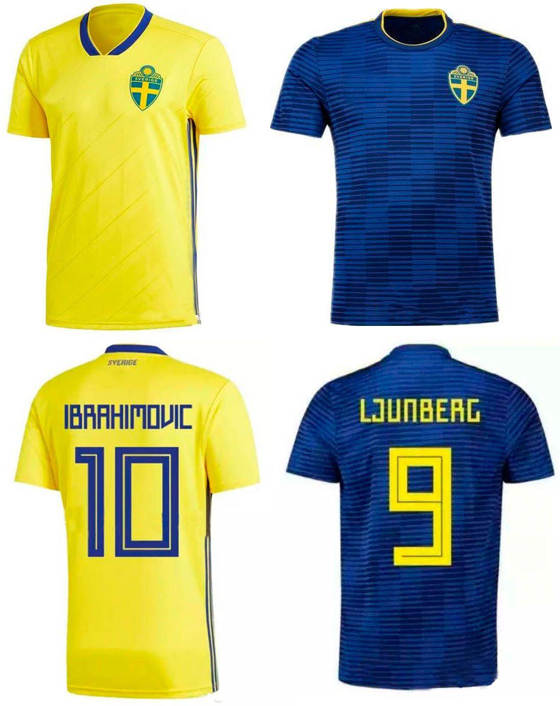 2018 2018 Sweden Home Away Soccer Jersey Ibrahimovic Football Shirts 18 19  Forsberg Kallstrom Sam Larsson Football Tops Sverige Sport Uniforms From ...
