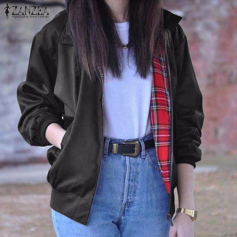 2017 Autumn ZANZEA Women Casual Outwear Long Sleeve Vintage Tartan Zippered Pockets Bomber Slim Jacket Coat Plus Size Oversized