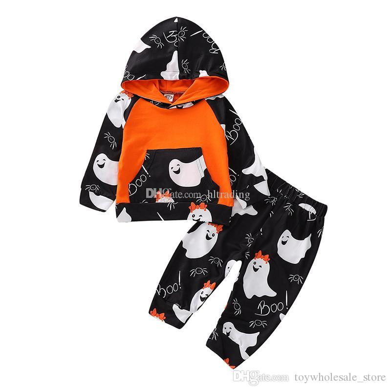 919860984 Halloween baby outfits children boys girls sloth ghost print Hooded top+ pants 2pcs/set 2018 Autumn fashion kids Clothing Sets 2 styles C5189