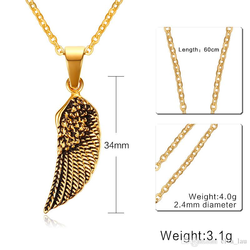 Mens Guardian Angel Wing Pendant Necklace 34MM Stainless Steel Gold Color Statement Necklace For Men Jewelry Collier With 24'' Chain