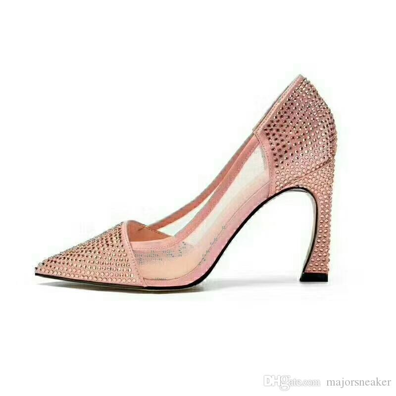 Women Pumps Newest Lady Mesh Pumps Hoof Heels 9 Cm Heel Height Pointed Toe Bling  Bling Diamond Pumps For Party Shoes Size 34 39 Men Sandals Best Shoes From  ... 9cbd98c5cdcc