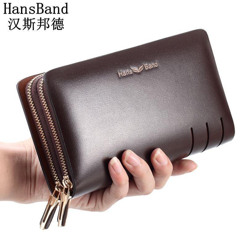 3e7202a88c54 Men Wallet Large capacity double zipper Purse Casual Long Business Male  Clutch Wallets Men's clutch bag