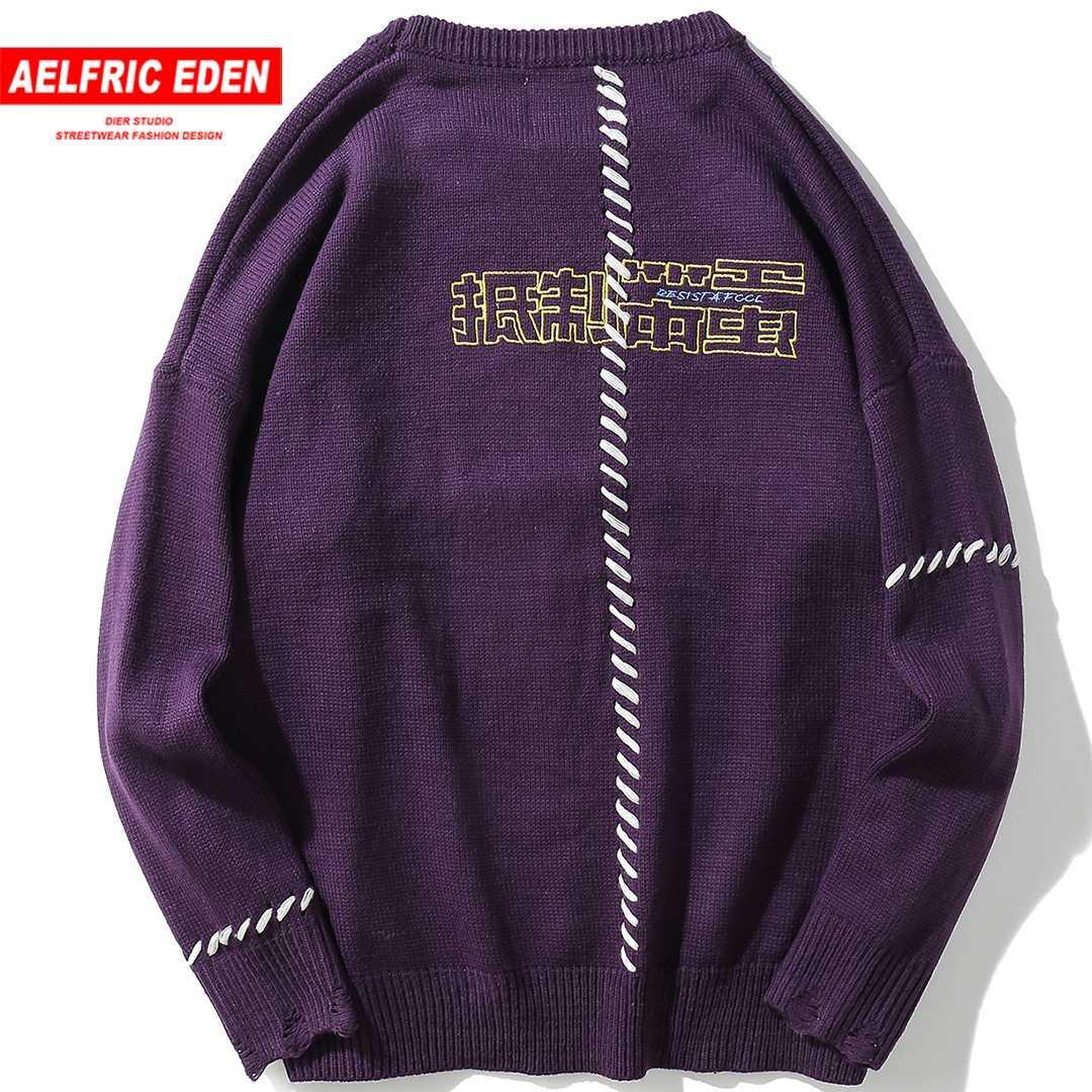 deab61b095b3b Compre Aelfric Eden Carta Divertida Bordado Suéteres Hombres Harajuku  Pullover Punto Streetwear Hip Hop Suéter Moda Knitwear KJ200 A  42.59 Del  Guocloth ...